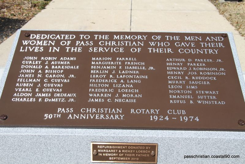 Plaque dedicated to fallen service men and women from Pass Christian.