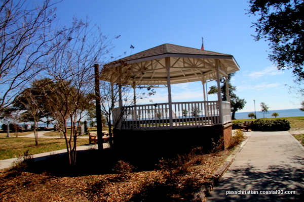 Pass Christian Gazebo looks out on Gulf of Mexico and Pass Christian Beaches.