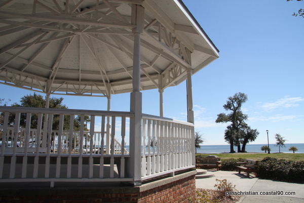 Pass Christian Gazebo ovelooks Gulf of Mexico