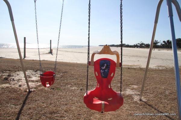 Swing right next the the Mississippi Gulf Coast at this Pass Christian park on the beach.