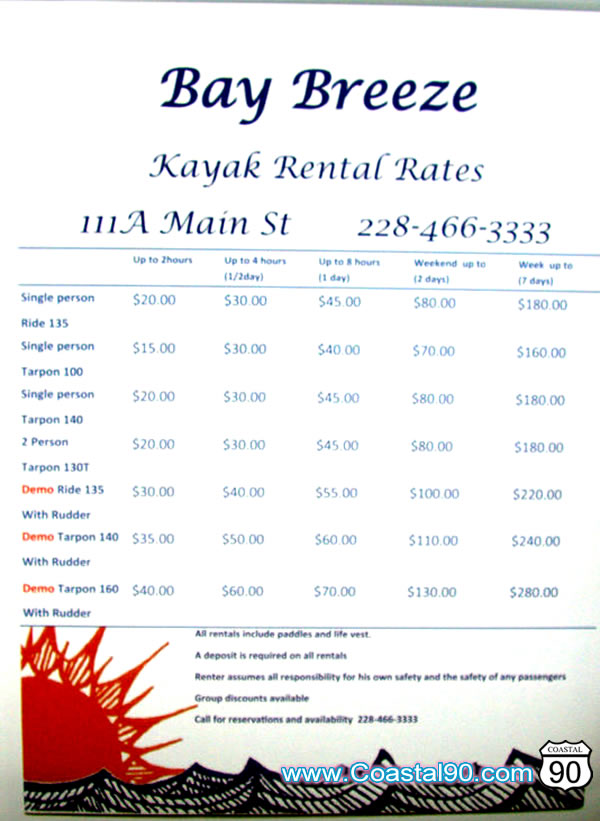 Kayak Rental Rates Bay St. Louis Mississippi