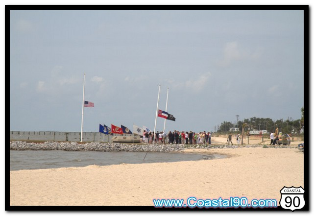 Memorial Day Service at Veterans Memorial on Beach in Waveland Mississippi