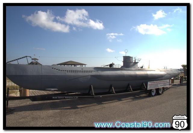 U-166 U-Boat Submarine Model on Display on Biloxi Beach