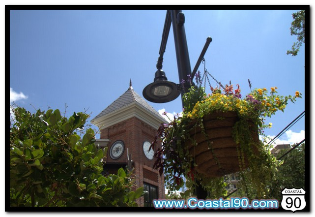 Flowers fill the hanging baskets in Ocean Springs Mississippi