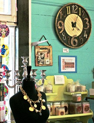 """Social Chair has brightened the corner of Main and Second Streets, featuring a lively melange of merchandise, including the """"hot, hot, hot"""" jewelry designs of Susan Shaw. (Featured in Foreground)"""