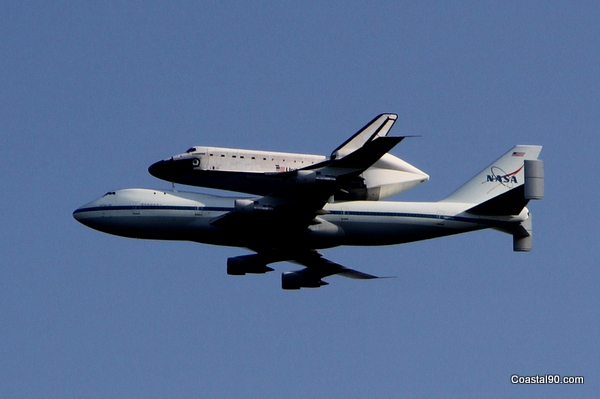 Space Shuttle Endeavour does low altitude flight over Stennis Space Center in Mississippi