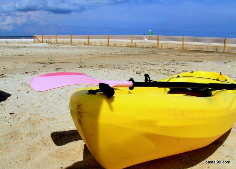 Kayak on beach in Waveland Mississippi