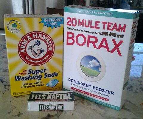 Besides water here are the three main ingredients in home made laundry detergent.