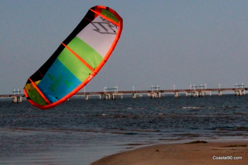 Garfield Ladner Waveland pier is backdrop for kite surfer practicing